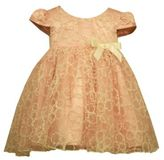 Bonnie Baby Embroidered Organza Dress with Bow in Peach