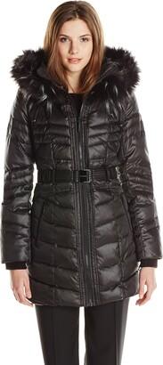 Kensie Women's Matte Satin Belted Down Coat with Faux Fur Hood