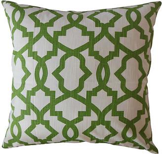 One Kings Lane Casey Pillow - Green/White - 18x18