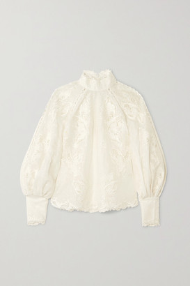 Zimmermann Super Eight Embroidered Linen And Silk-blend Blouse - Ivory