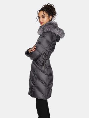 Dawn Levy Cloe Gem Fitted Puffer Coat with Fox Fur Collar