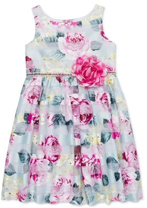 Youngland Girls Easter Floral Shadow Stripe Dress With 3D Flower, Sizes 4-16