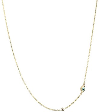 Sydney Evan Mini Evil Eye 14kt yellow gold and white diamond necklace