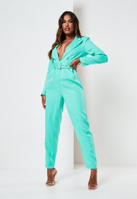 Missguided Mint Tailored Belted Long Sleeve Romper