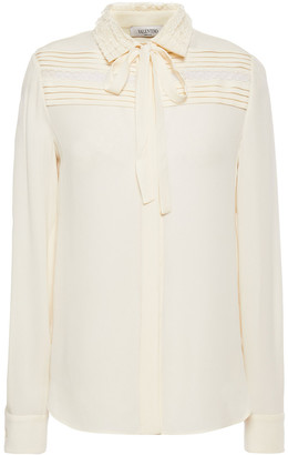 Valentino Lace-trimmed Pleated Silk-crepe Shirt