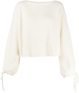 MSGM Drawstring Sleeves Cropped Jumper