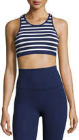 Beyond Yoga Sailing Stripe Sports Bralette, Blue/White