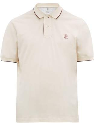 Brunello Cucinelli Logo-embroidered Cotton-jersey Polo Shirt - Mens - Cream