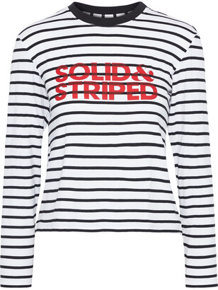 Solid & Striped Logo-print Striped Stretch-jersey Top