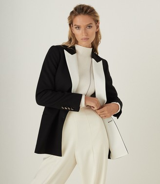 Reiss CHESS CONTRAST LAPEL TUXEDO BLAZER Black/White