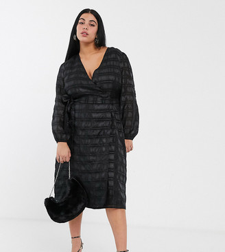 Glamorous Curve midaxi wrap dress with volume sleeves in organza check-Black