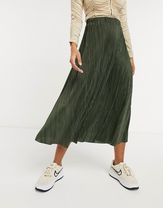 ASOS DESIGN plisse full midi skirt in dark khaki