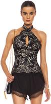 Lover Mia Lace Knit Twist Top in Black