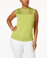Anne Klein Plus Size Sheer-Yoke Shell Sweater