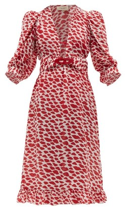Adriana Degreas Bacio Lips Print Silk Crepe De Chine Dress - Womens - Red White