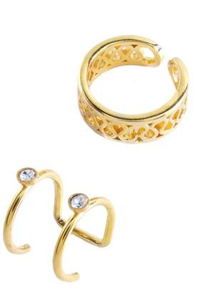 Sterling Forever 14K Yellow Gold Vermeil Filigree & Bezel Set Cubic Zirconia Mismatched Ear Cuff Set - Set of 2