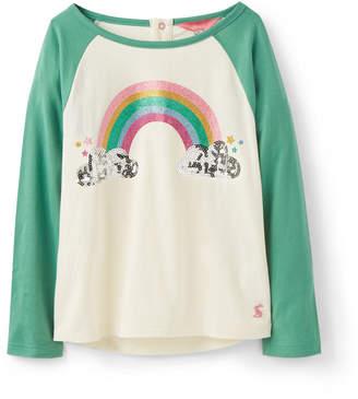 Joules Lorna Glitter Rainbow & Sequin Cloud Raglan Tee, Size 2-6