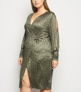 New Look Just Curvy Leopard Print Split Sleeve Midi Dress
