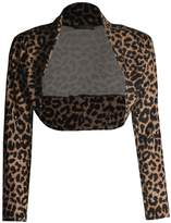 Forever Womens Long Sleeves Leopard Printed Crop Top