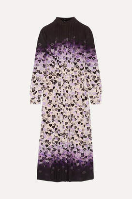 Prada Pleated Printed Dégradé Silk Crepe De Chine Midi Dress - Purple
