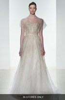 Amsale 'Elaine' Organza Overlay Strapless Hand Beaded Tulle Gown (In Store Only)