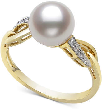 Belle de Mer Cultured Freshwater Pearl (8mm) & Diamond (1/20 ct. t.w.) Ring in 14k Gold