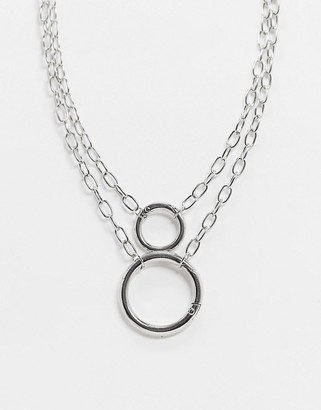 Asos Design DESIGN multirow necklace with hardware chain and open link in silver tone