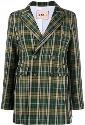 Plan C Double-Breasted Plaid Blazer