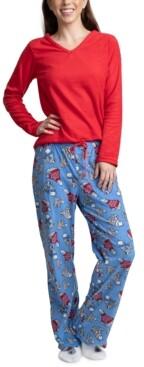 Muk Luks Fleece Top, Pants & Socks 3pc Pajama Gift Set