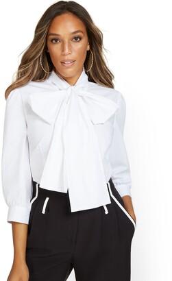 New York & Co. Poplin Bow-Accent Shirt
