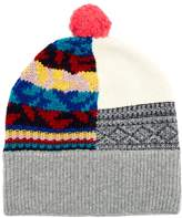 Burberry Multicoloured patchwork cashmere-blend beanie hat