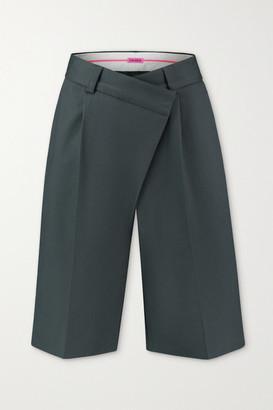 GAUGE81 Soweto Asymmetric Cotton Shorts - Dark green