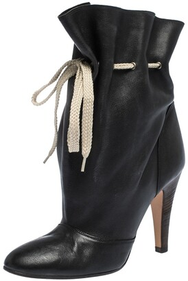 Chloé Black Leather Ankle Length Booties Size 37.5