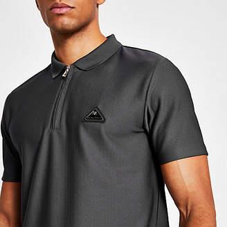 River Island MCMLX dark grey slim fit zip polo shirt
