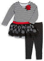 Flapdoodles Girls 2-6x Two-Piece Mixed Pattern Dress and Leggings Set