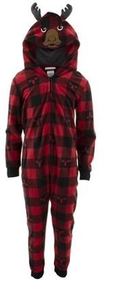 Komar Kids boys' red check moose hooded pajama blanket sleeper