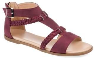 Brinley Co. Womens Comfort T-strap Braided Sandal