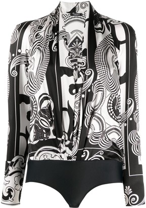 Versace Abstract-Print Long-Sleeve Body