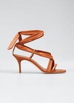 Manolo Blahnik Tor Napa Ankle-Wrap Sandals