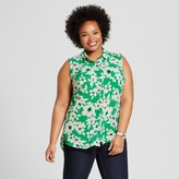 Merona Women's Plus Size Sleeveless Blouse Green Floral