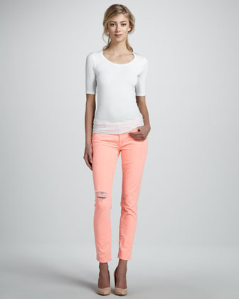 7 For All Mankind Distressed Cigarette Jeans, Coral