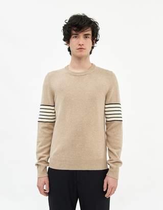 Maison Margiela Men's Knit Crewneck Sweater in Beige, Size Small | Wool