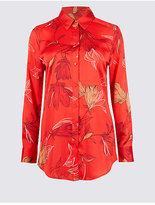 Classic Floral Print Satin Long Sleeve Shirt
