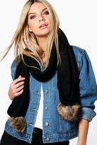 boohoo Ellie Faux Pom Trim Cable Knit Scarf