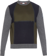 Moncler Gamme Bleu Colour-block neoprene and wool-knit sweater