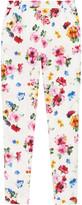 Floral-print stretch cotton-poplin pants