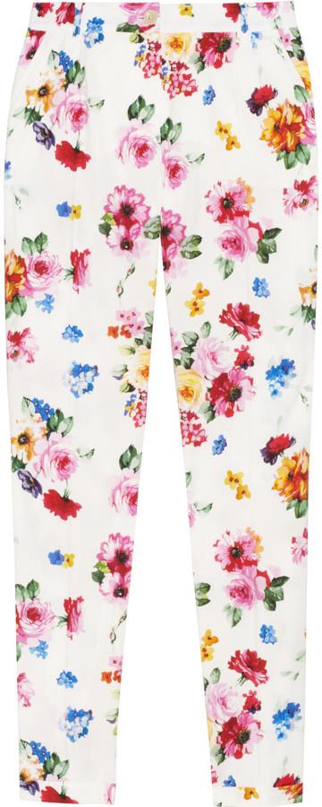 Dolce & Gabbana Floral-print stretch cotton-poplin pants