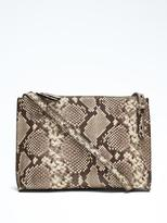 Banana Republic Snake-Effect Leather Double-Zip Pouch Crossbody