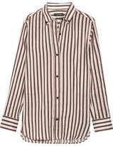 Isabel Marant Striped Ramie And Silk-blend Shirt - White