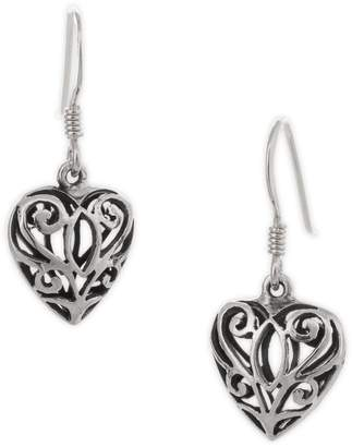 Celtic Serpentina Silver Heart Earrings